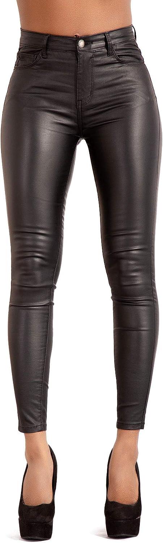 Glook Las Mujeres de Cuero PU Leg Leggings Treggins de Cintura Alta Flaco elástico lápiz Jeggings Leggings Pantalones