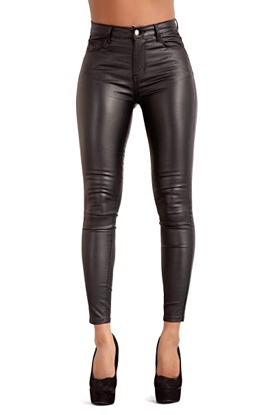 best sneakers search for original release date: Glook Womens Black Leather Look Trousers High Waist Slim Fit Skinny Butt  Lifting Jeans