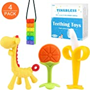 Baby Teething Toys(4 Pack) - Tinabless Silicone Baby Teethers - BPA-Free Sensory Teethers Chew Toys/Natural Organic Freezer