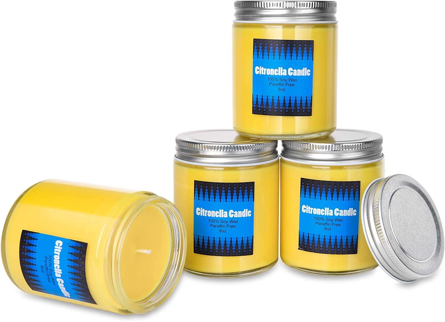 Citronella Candles Outdoor, HOUSECRET Long-Lasting Scented Candles Gifts Set for Women Highly Scented Natural Soy Wax Candle, 4x8oz Portable Travel Jar Candle for Home, Garden, Patio, Backyard