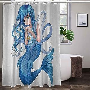 Interestlee Dorm Shower Curtain 60 x 72 Inch, Anime Bathroom Decor Curtain - Manga Cartoon Style Character of a Pisces Girl Horoscope Zodiac Themed Avatar, Blue and White