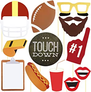 Football Party Photo Booth Props - Birthday Decoration for Game Day Team Sports Super Bowl Tailgate Father's Day Baby Shower Reunions Homecoming, Disguise Selfie Dress-up Shoot Props Party Favor 17Pcs