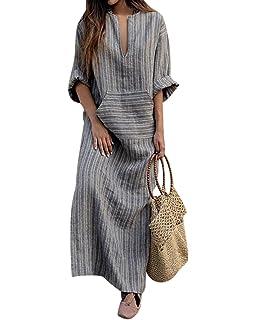 5de981dfd24ad Jacansi Women Summer Stripe Long Sleeve V-Neck Cotton Linen Plus Size  Kaftan Dress S