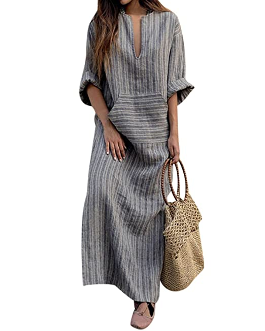 1779fb401f GZBQ Women Linen Cotton Maxi Dress Stripe Shift Dress Plus Size with Pocket  Gray S