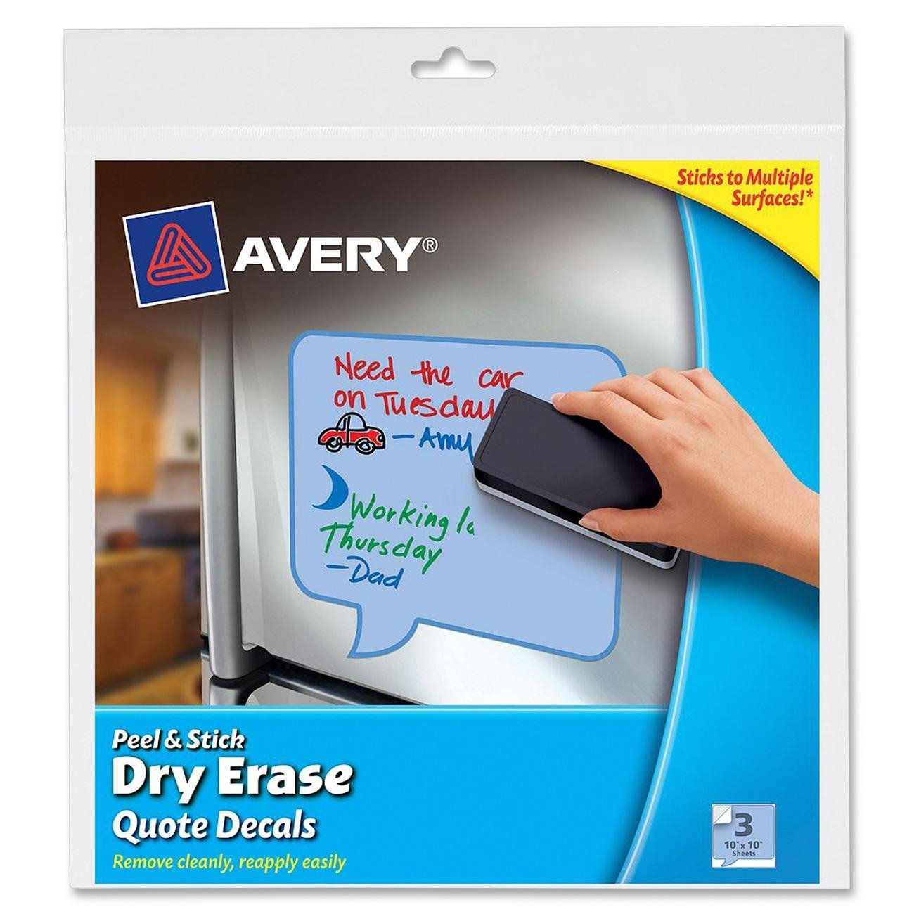 Avery Peel and Stick Dry Erase Decals, 10 x 10 inches, Blue, Quotes 3 Sheets (24308)