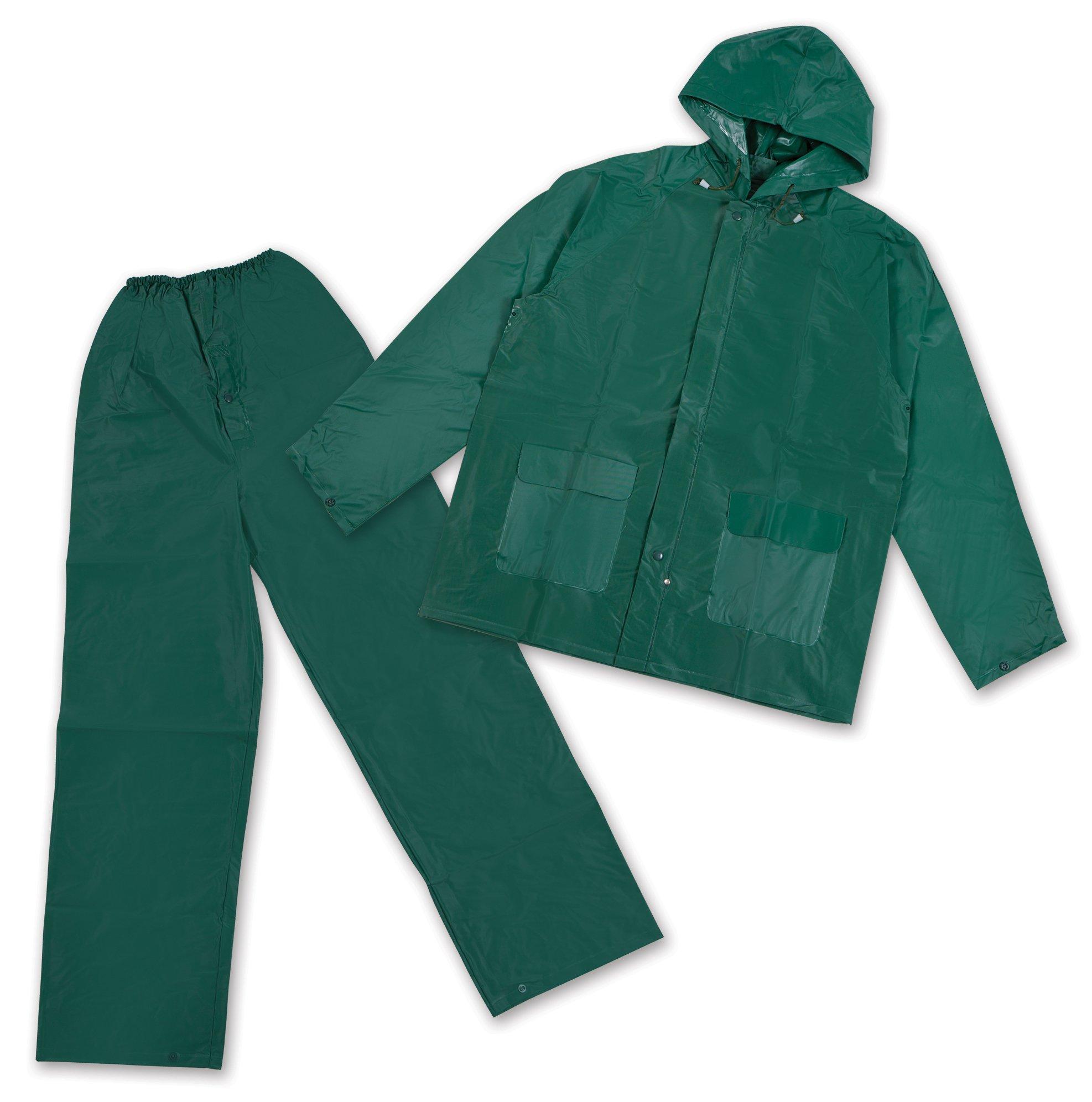 Stansport Men's Pvc Rainsuit with Hood, Green, X-Large