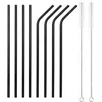 YIHONG Set of 8 Stainless Steel Metal Straws 8.5'' Reusable Drinking Straws For 20oz Tumblers Yeti 6mm Diameter Black (4 Straight + 4 Bent + 2 Brushes)