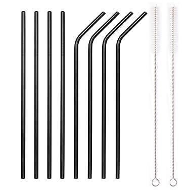 YIHONG Set of 8 Stainless Steel Metal Straws 8.5'' Reusable Drinking Straws For 20oz Tumblers Yeti 6mm Diameter Black (4 Straight + 4 Bent + 2 Brushes)