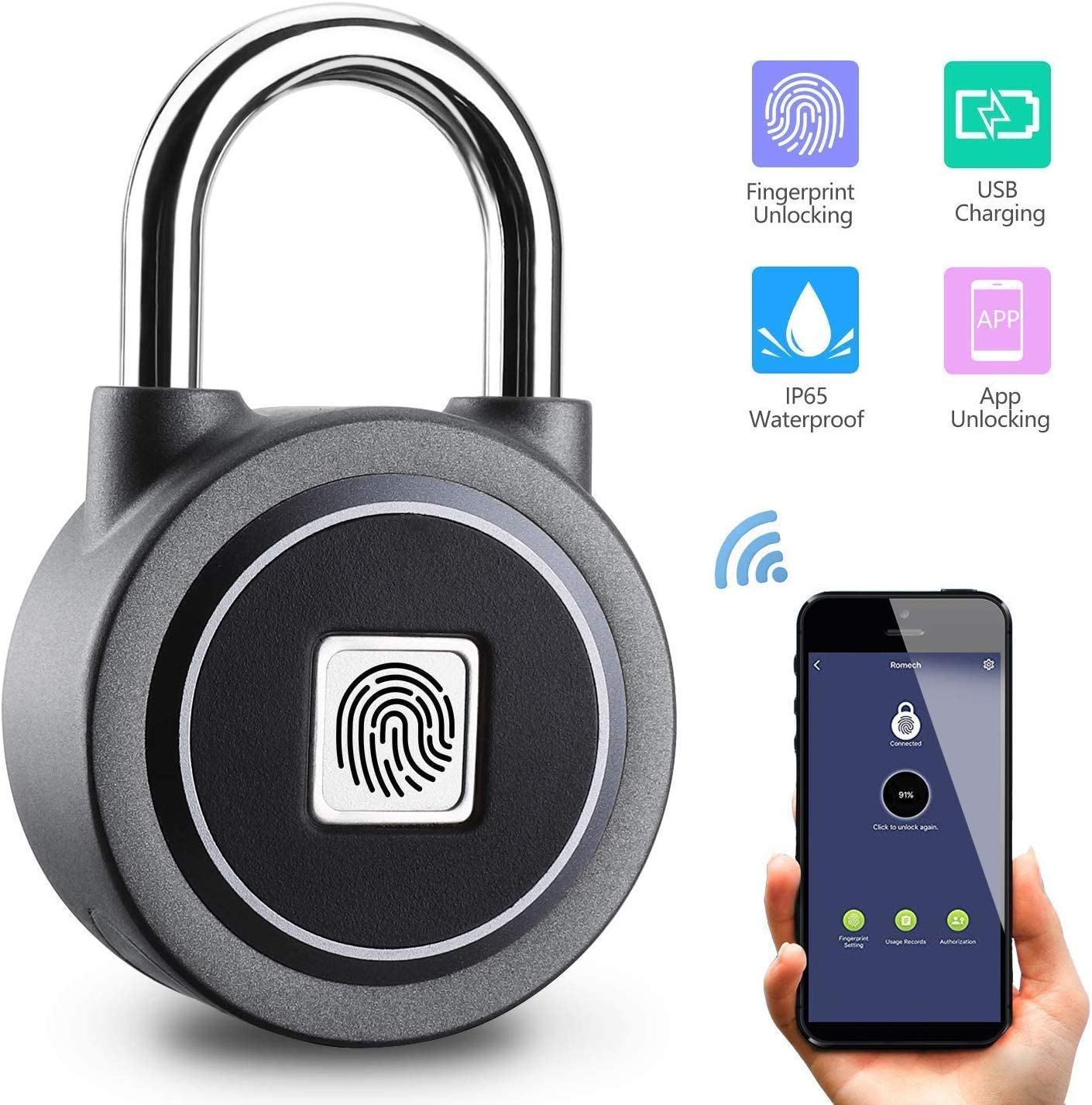 SHANG-JUNS Easy Installation Fingerprint Lock Security USB Charging Door Lock Smart Padlock Black Alloy Steel Stainless Steel Color : Black