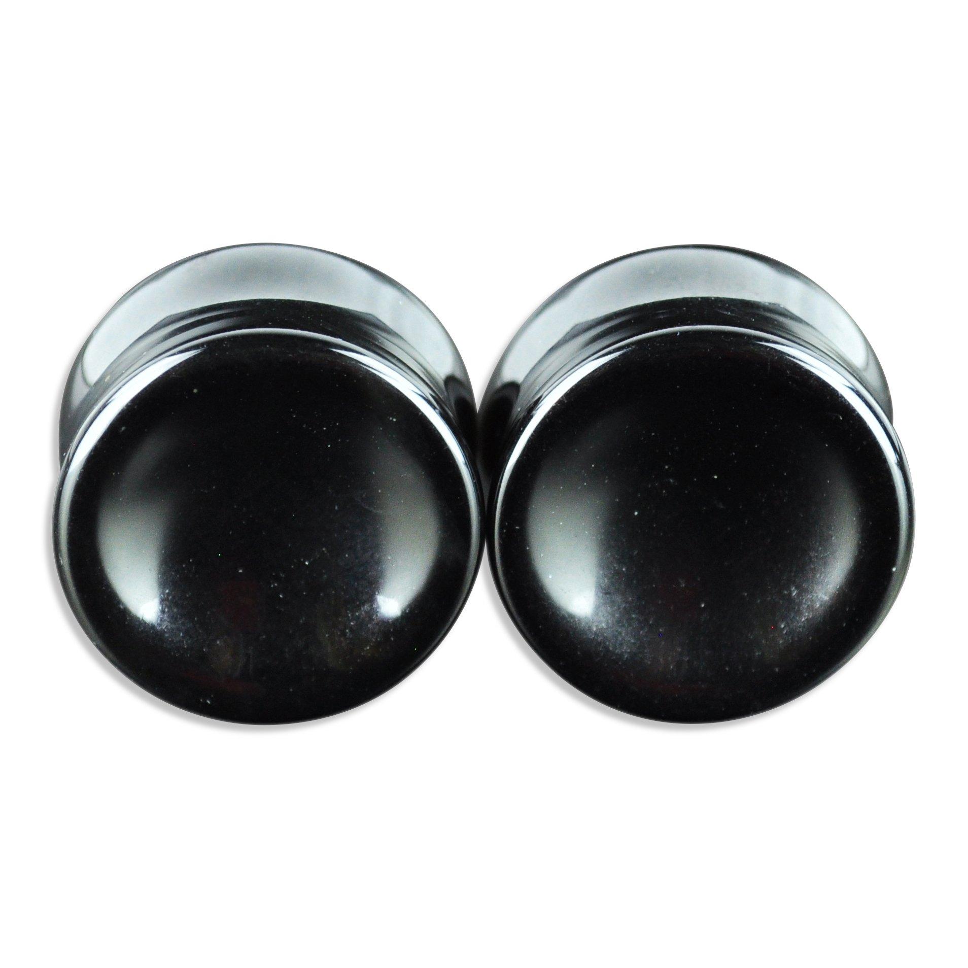 ArcticBuffalo Pair of Genuine Black Onyx Organic Natural Polished Stone Ear Gauges Plugs