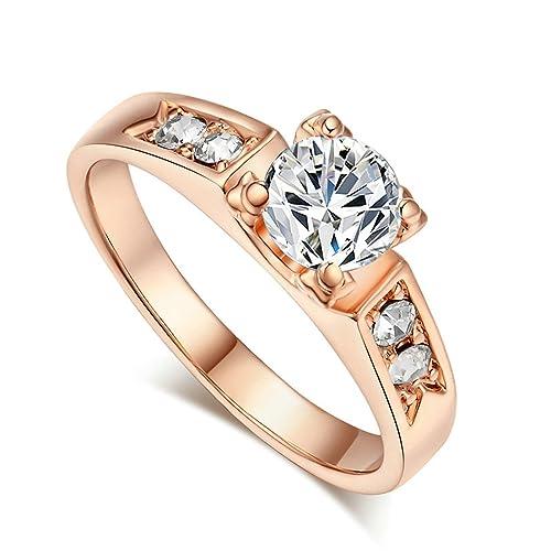 Stjeny1 - Anillo de boda para mujer, color oro rosa/oro blanco/oro amarillo: Amazon.es: Joyería