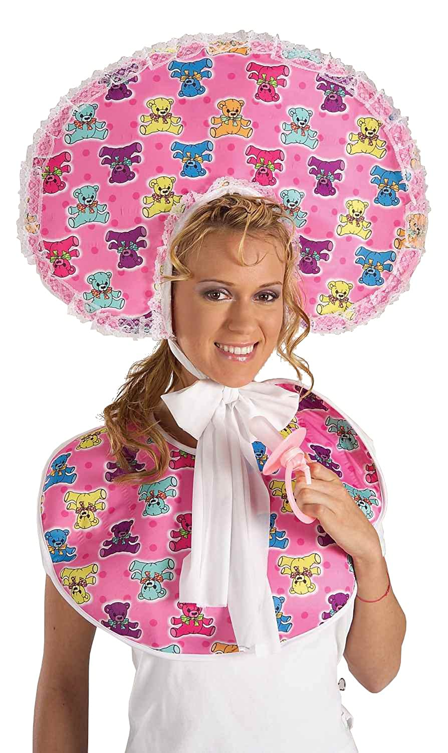 Forum Novelties Women's Big Baby Girl Deluxe Accessory Bib and Bonnet Set Pink One size Forum Novelties Costumes 58559