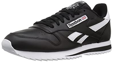 a8e4a1f8866 Reebok Men s CL Leather Ripple Low BP Fashion Sneaker Black White 6 ...