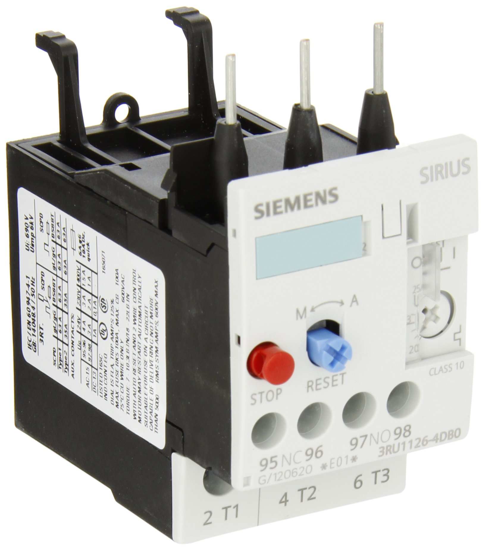 Siemens 3RU11 26-4DB0 Thermal Overload Relay, For Mounting Onto Contactor, Size S0, 20-25A Setting Range