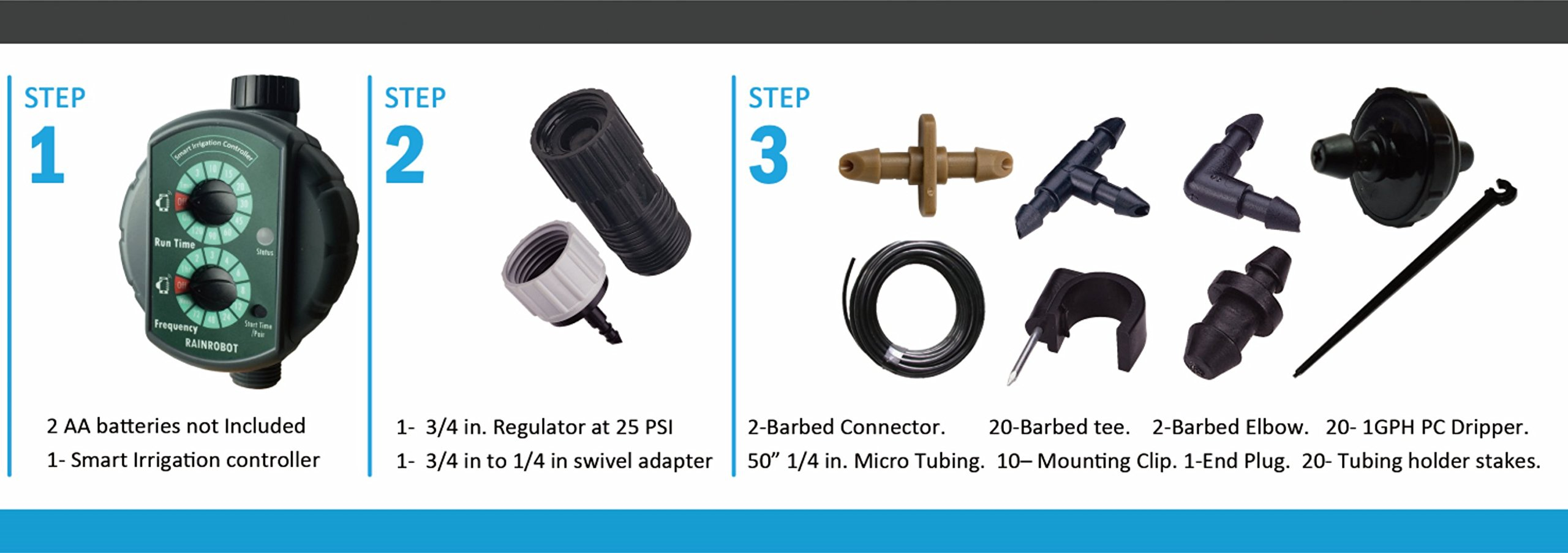 RainRobot SW8100D Smart Drip Irrigation System/Full Kit, for Containers, Hanging Baskets, Flower Beds, Vegetable Gardens etc.Indoor/Outdoor