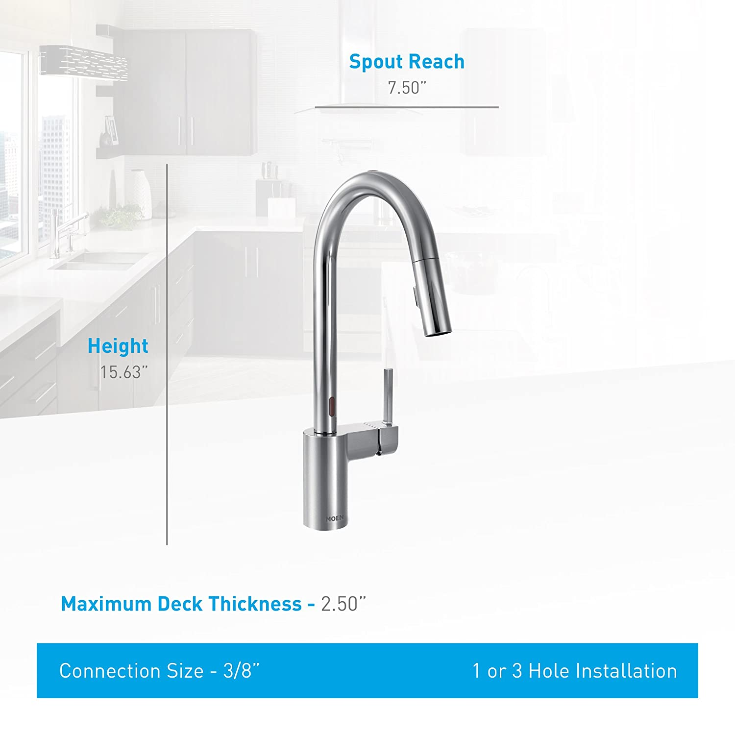 Moen 7565ESRS Align with Motionsense Touchless One-Handle High-Arc ...