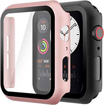 Hianjoo (2 Pack) Case Compatible with Apple Watch SE Series 6 Series 5 Series 4 40mm, Built-in Thin HD Tempered Glass Screen Protector Overall Cover Replacement for iwatch Series SE/6/5/4