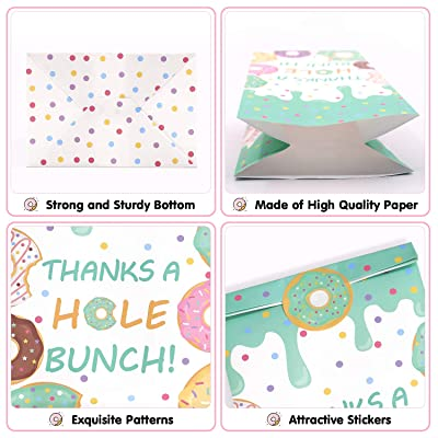 24 PCS Donut Candy Bags Sprinkles Goodie Bags Thanks A Hole Bunch Stickers Sweet