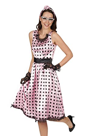 Disfraz para mujer de Rock n Roll y vestido Rockabilly de lunares rosa con diadema