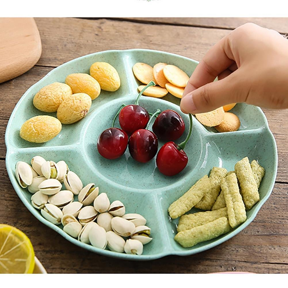 RoseSummer Creative Acrylic Multi Sectional Snack Serving Tray Set Beige