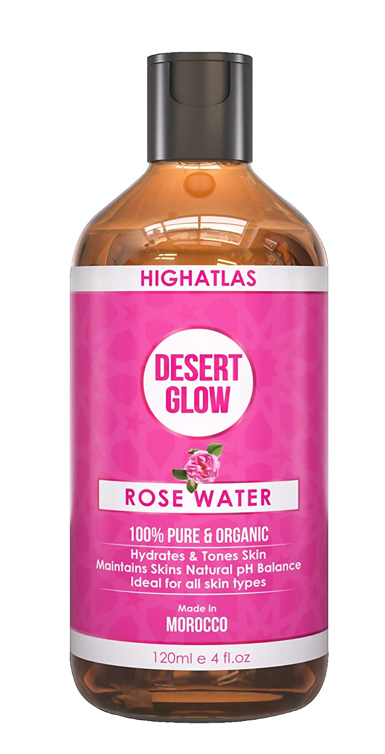 Pure Organic Rose Water By High Atlas | Facial Toner | 120ml 100 Percents Natural Moroccan Rosa Damascena Floral Purified Water, Purified And Steam Distilled | Alcohol Free Toner | Natural Makeup Remover | Anti Aging, Anti Inflammatory And Soothes Dry S... by Amazon