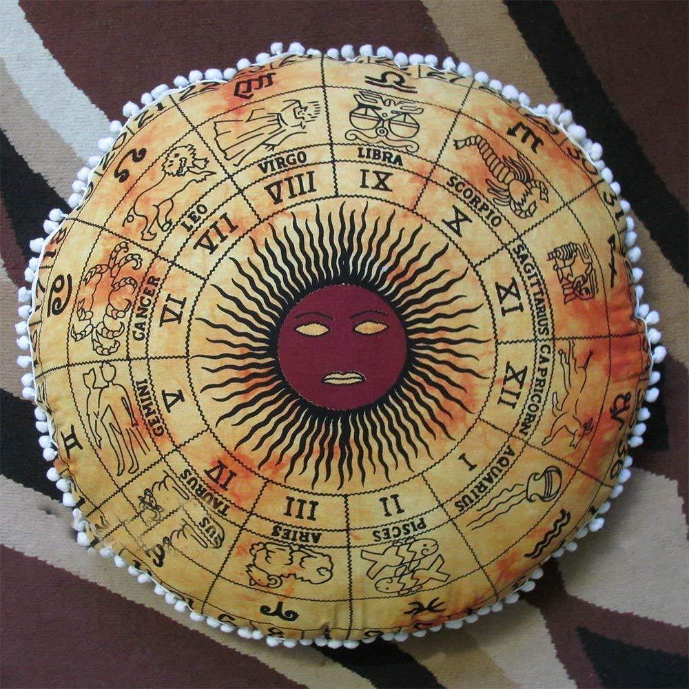 Psychedelic Horoscope Astrology Zodiac Sign Pouf Tie Dye Boho Indian Large Shams Celestial Virgo Sun Moon Stars Symbol Modern Floor Pillows Cushion Seating Throw Cover Decor Round Meditation Ottoman by MY DREAM CARTS