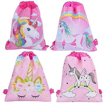 Unicornio Mochilas Petate 4 Pack Cordón Mochila Bolsas Infantiles para niños y niñas Deporte Gimnasio Backpack Regalos Detalles y Recuerdos para ...