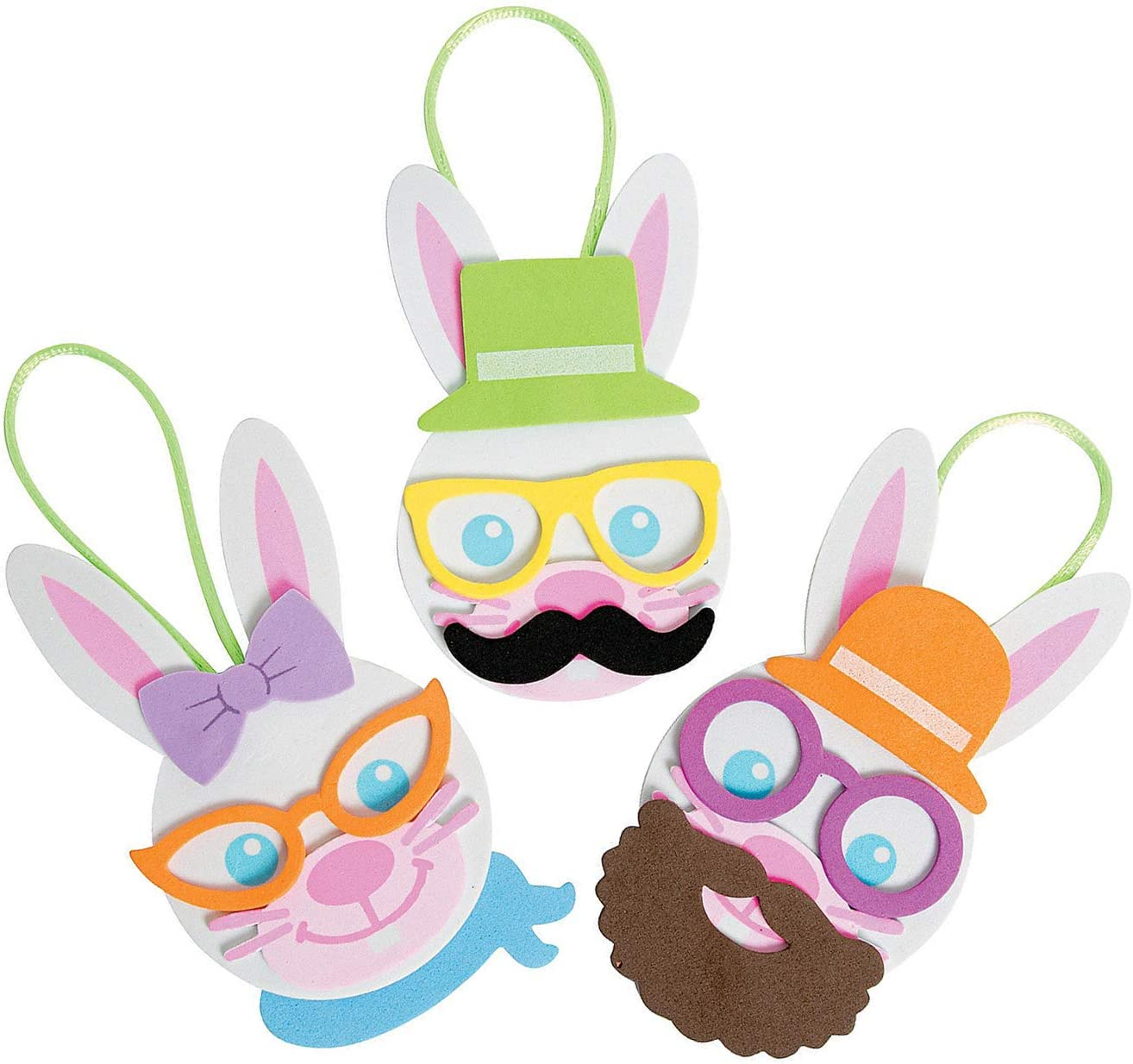 4E's Novelty Easter Craft Kit for Kids Foam Bunny Ornament [12 Pack] Spring Fun Home Activities - Mess Free Arts & Craft Self Adhesive