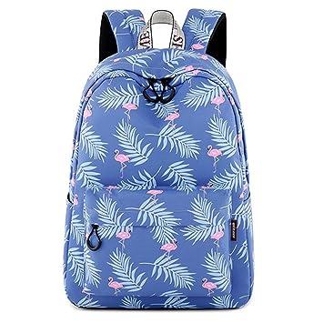 Patrón de Flamingo de la mochila mujeres impermeables lindo Lady Travel Bookbag Bolsas de la escuela de impresión Animal para adolescentes Blue ...