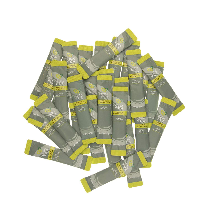Lemon Black Tea by Cusa Tea - Cold Brew Tea - Premium Organic Instant Tea - USDA Organic Certified Tea and Real Lemon Fruit - Zero Sugar, Preservatives or Flavorings (30 servings)