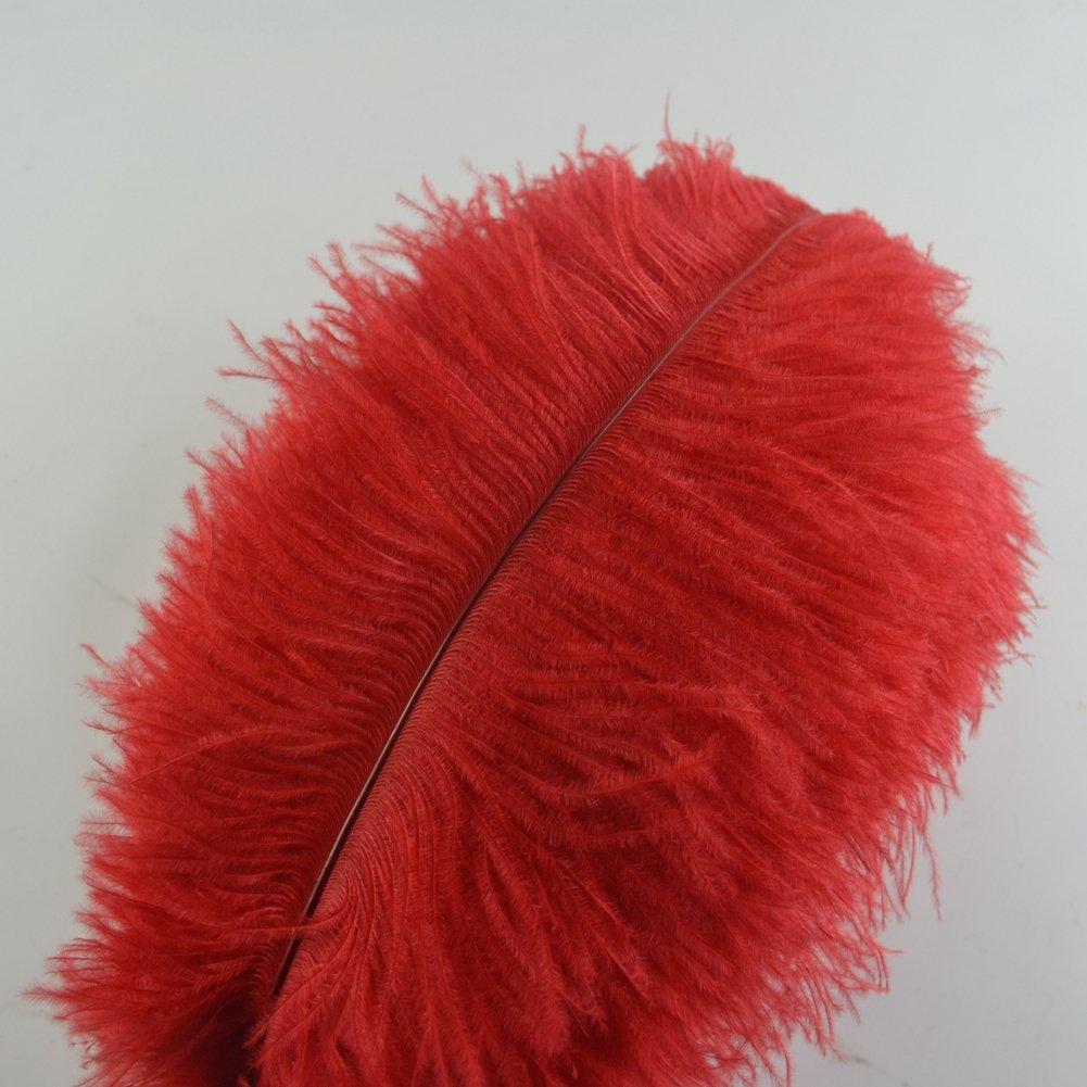 burgundy Sowder 10pcs Ostrich Feathers 12-14inch for Home Wedding Decoration 30-35cm
