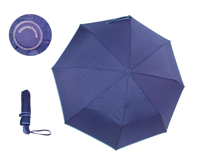 Victoria /& Andrea Ombrello Pieghevole Antivento Automatico 8 Stecche Rinforzate Blu
