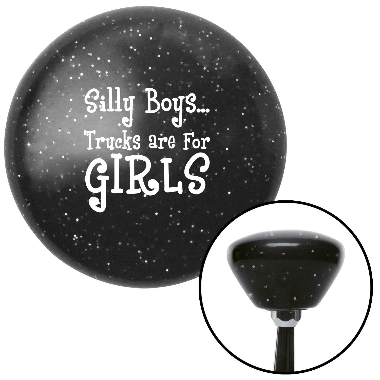 White Silly Boys.Trucks are for Girls American Shifter 28810 Black Retro Metal Flake Shift Knob
