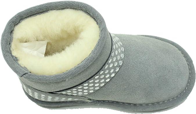 Kids Girls Grey Pink Sheepskin Childrens Bunny Furry Winter Smart Warm Boots