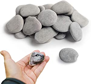 35 Painting Rocks Craft Rocks Stones for Rock Painting,Smooth Painting Rocks,Gray Kindness Stones,About 3 inches in Length