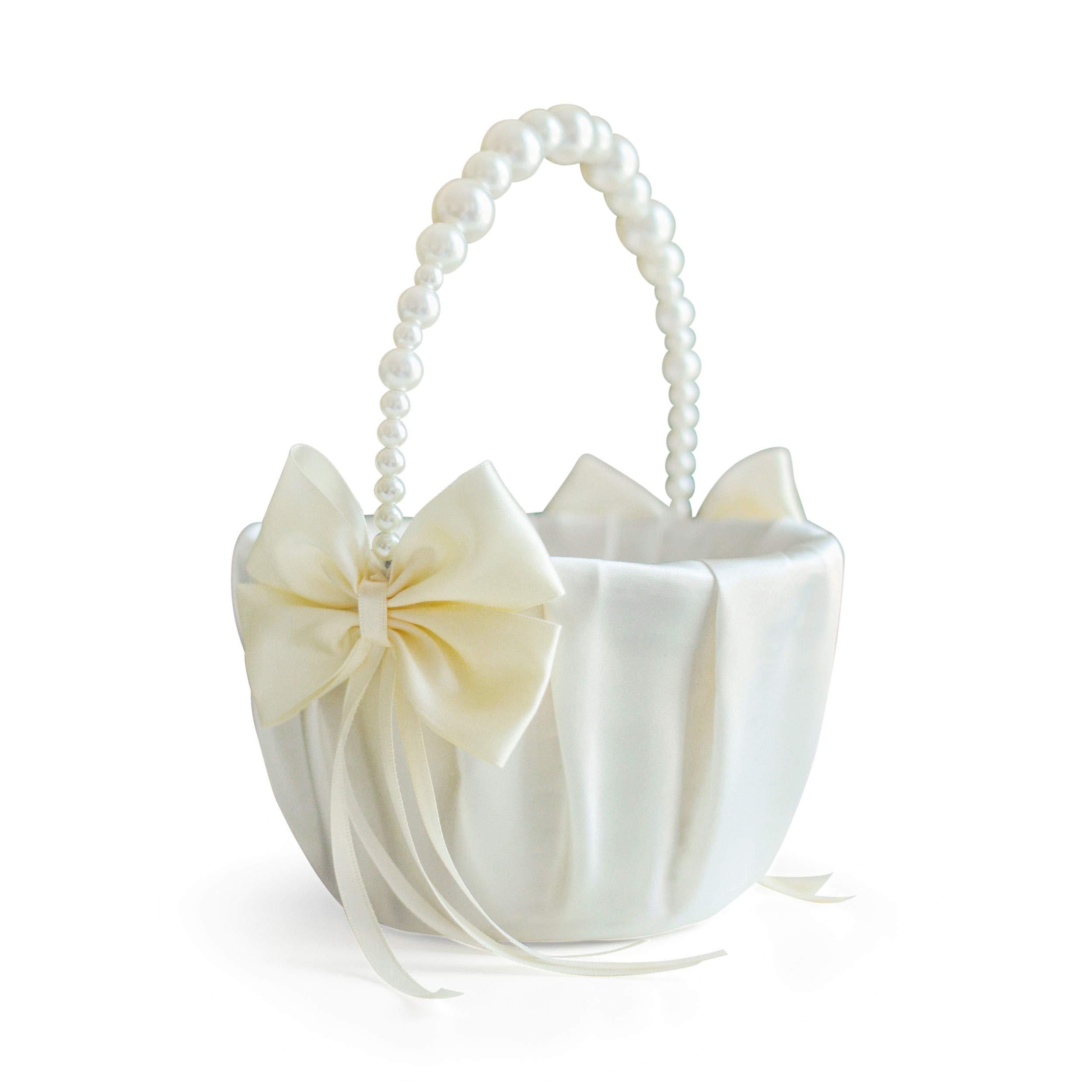 Alex Emotions Ivory Flower Girl Basket with Pearl Handle, Ivory Wedding Basket, Pearl Handle Basket, Ivory Flower Baskets