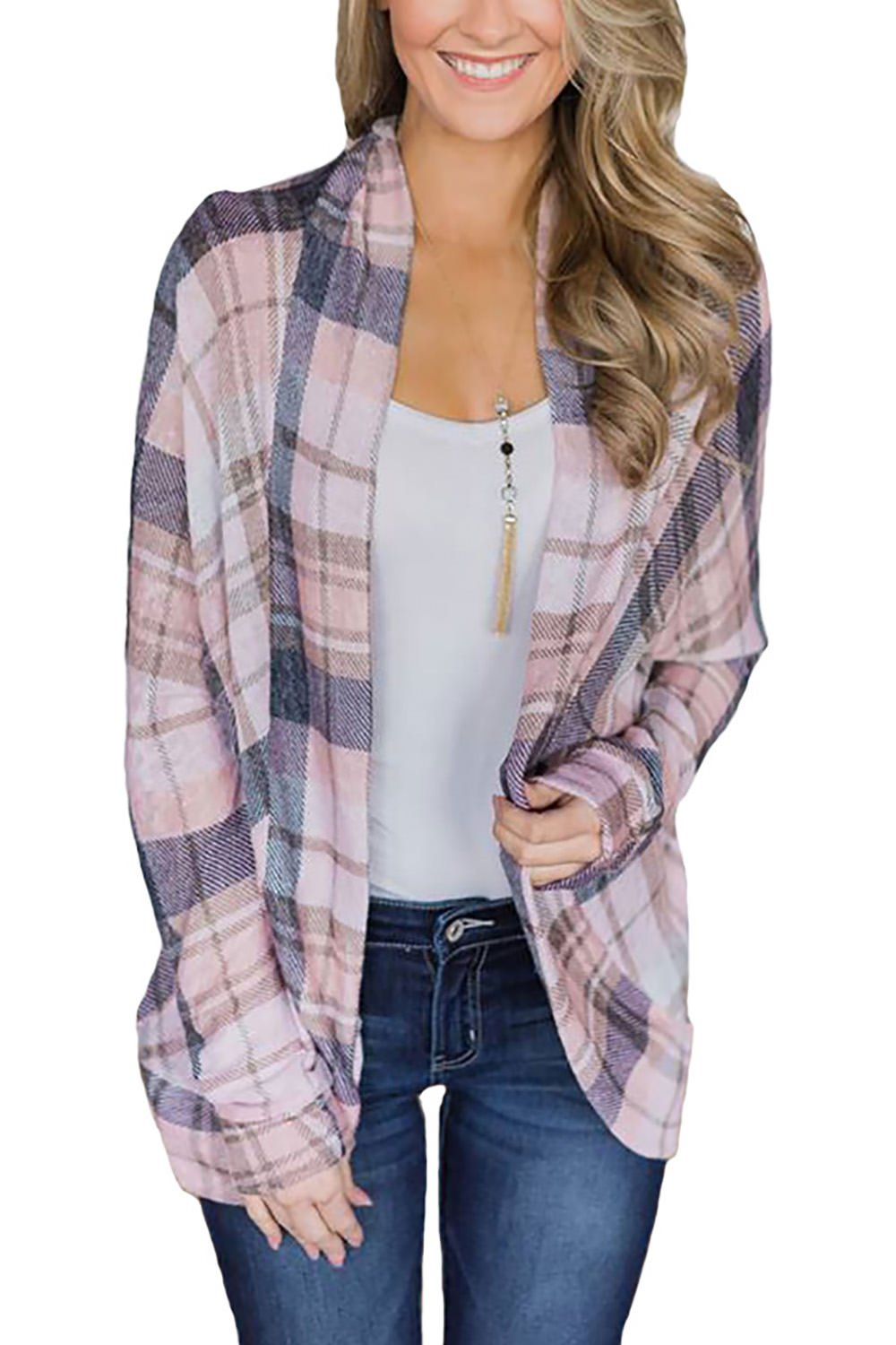 Minipeach Women's Casual Plaid Print Shirt Long Sleeve Open Front Cardigan Coverup Coat Tops Outwear