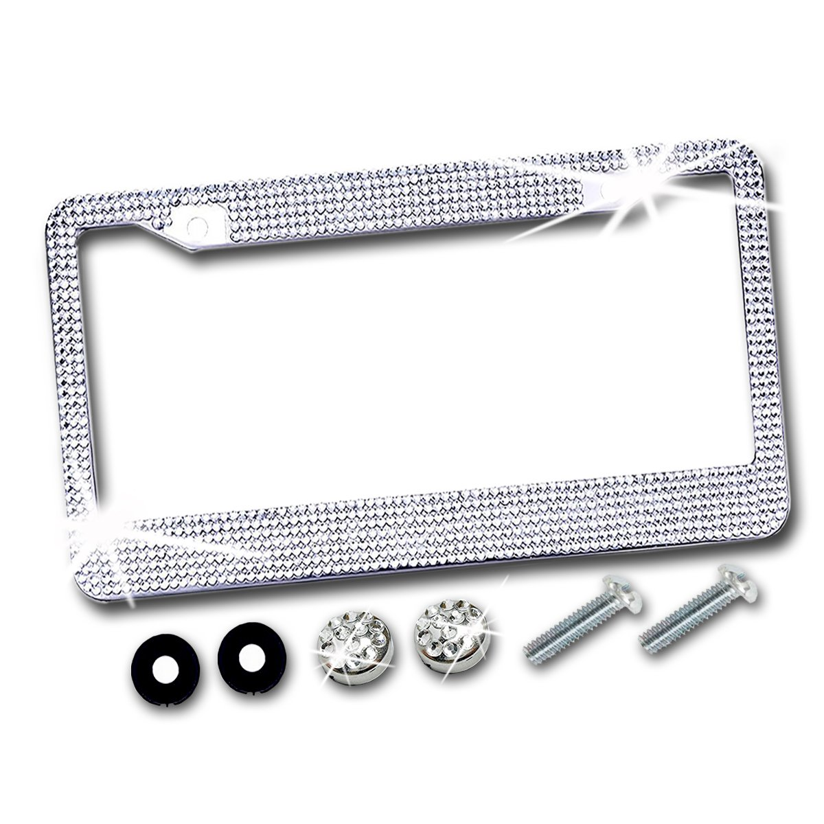 Zento Deals Shiny Crystal Bling Metal Chrome License Plate Frame with Anti-Theft Screw Caps