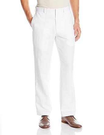 4b6d40f5 Cubavera Men's Easy Care Linen Blend Flat Front Pant, Bright White, 30x30