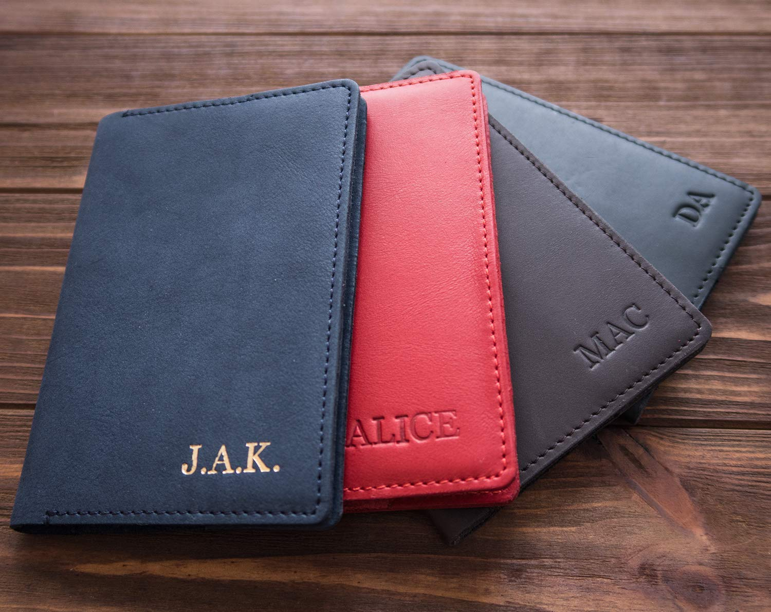 Leather passport cover and luggage tag Travel Set RED