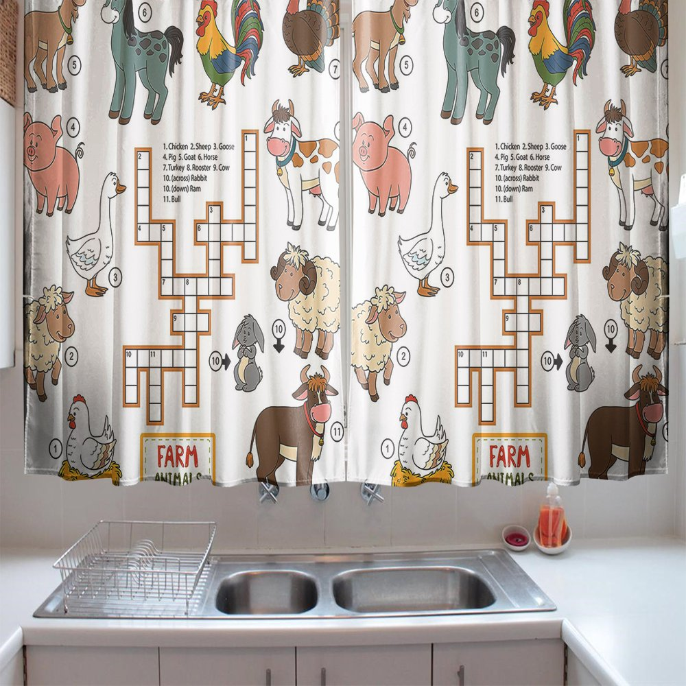 oFloral Kitchen Curtains Kids Game Puzzle Animals Numbers Multicolor Kitchen Curtains Window Drapes 2 Panels Set for Kitchen Cafe 55 W X 39 L Inches