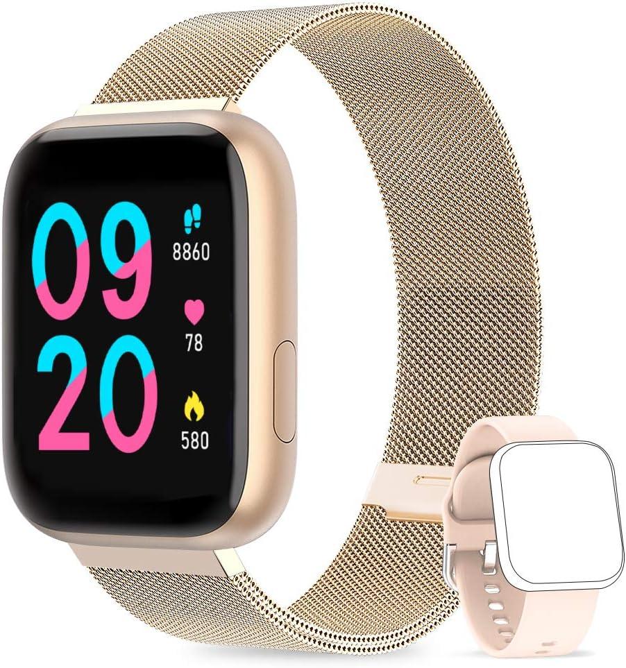 NAIXUES Smartwatch Orologio Fitness Sportivo Donna Uomo Impermeabile Smart Watch Cardiofrequenzimetro Contapassi da Polso Monitor Pressione Sanguigna Activity Tracker Compatibile con Android iOS