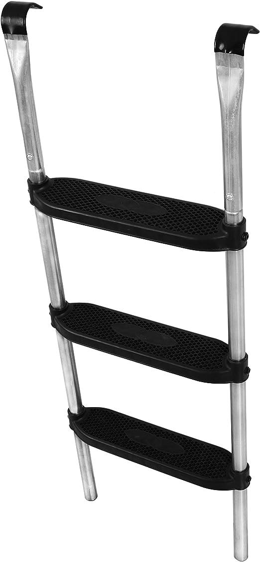 Ampel 24 - Escalera para Camas elásticas Grandes | ca 110 cm | 3 escalones Anchas | facilita la montada en el trampolín | Plata: Amazon.es: Jardín