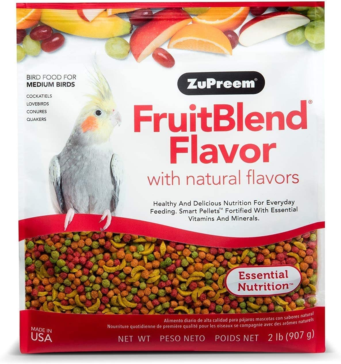 ZuPreem FruitBlend Flavor Pellets Bird Food for Medium Birds | Powerful Pellets Made in USA, Naturally Flavored for Cockatiels, Quakers, Lovebirds, Small Conures