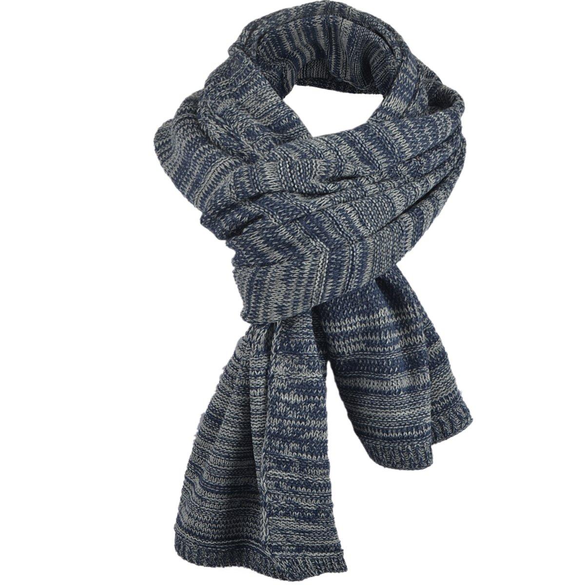 Classic Men Women Two-tone Knit Winter Scarf Oversize E5001 (Navy)