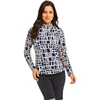Ibkul Women's Out of The Box Print Long Sleeve Golf Mock Top