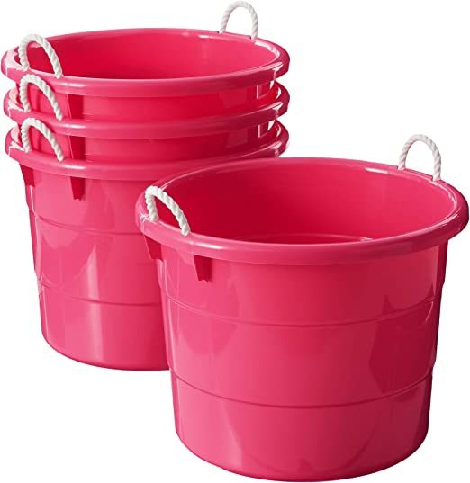 Amazon Com Homz Plastic Utility Tub With Rope Handles 18 Gallon Pink Set Of 4 Home Kitchen