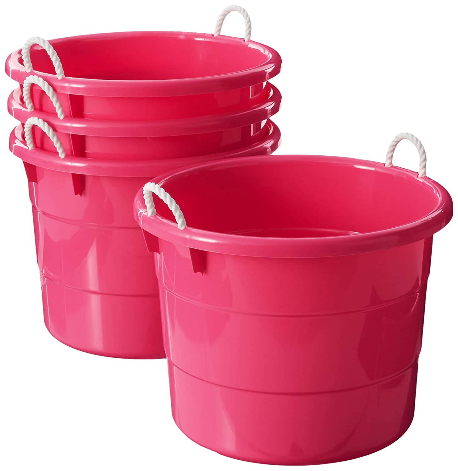 Homz Plastic Utility Tub with Rope Handles, 18 Gallon, Pink, Set of 4