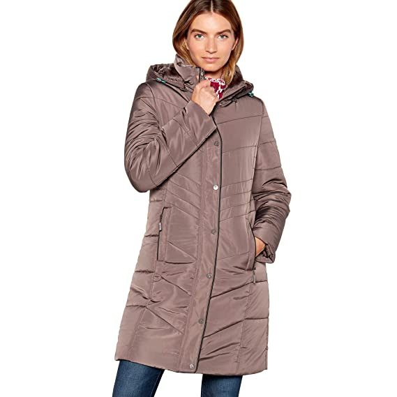 631e05b77ae97 Maine New England Womens Taupe Faux Fur Trim Padded Hooded Coat  Maine New  England  Amazon.co.uk  Clothing