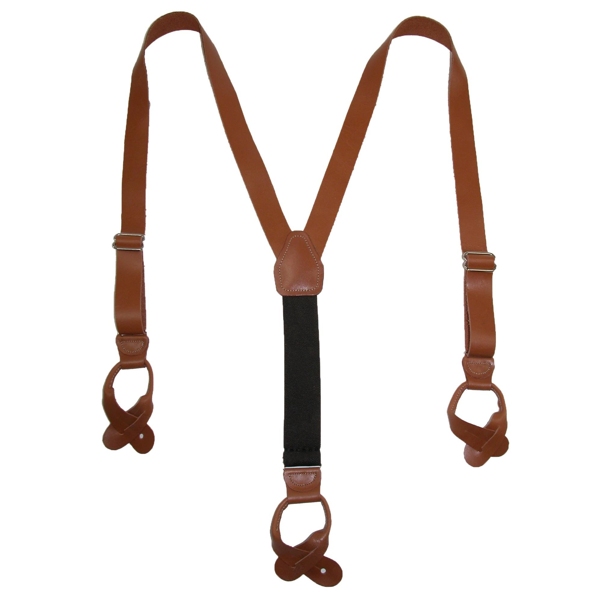 CTM Men's Leather Button-End 1 Inch Suspenders, Tan